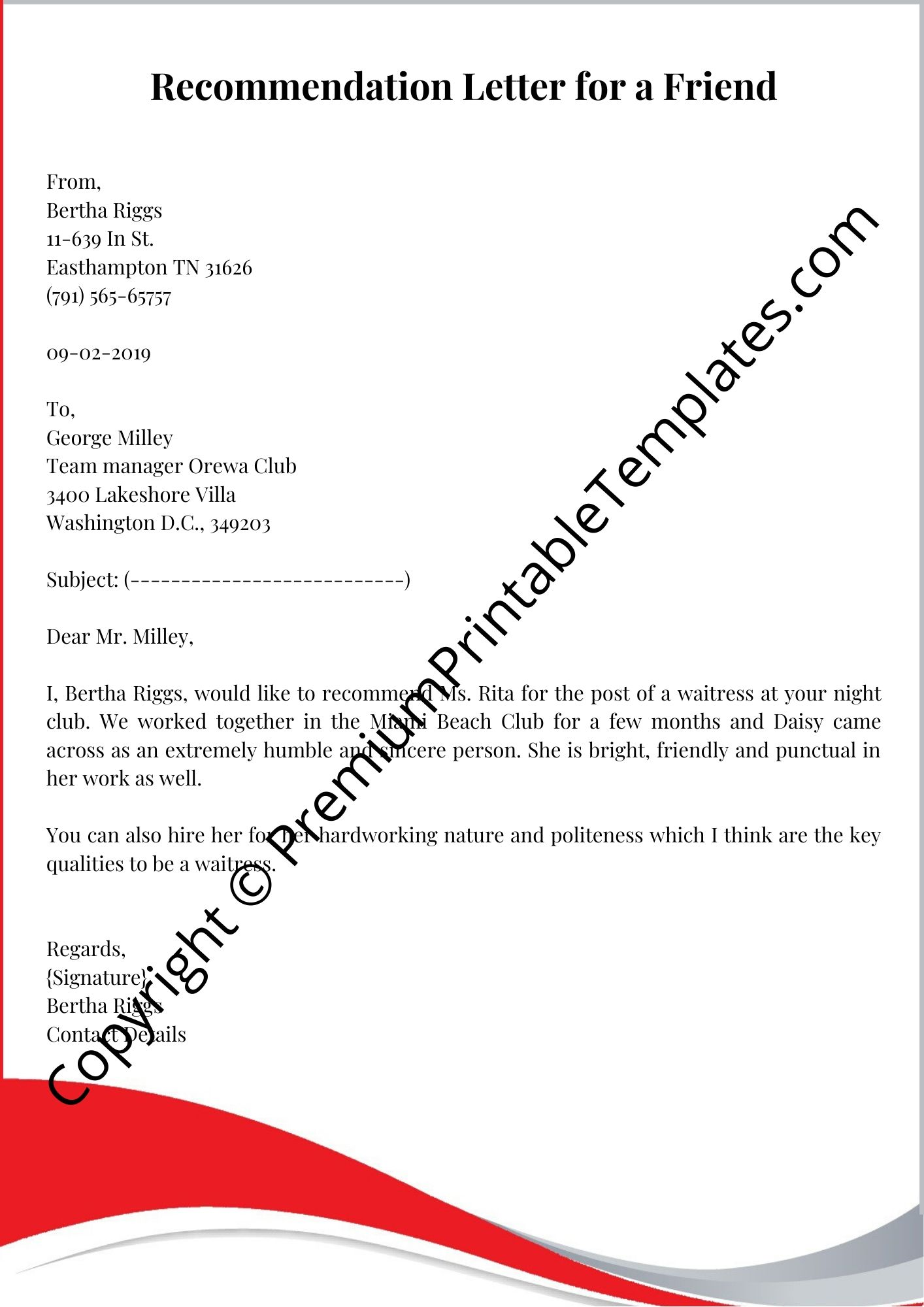 Sample Of Letter Of Recommendation For A Friend from premiumprintabletemplates.com