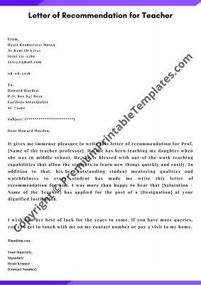 letter of recommendation for teacher