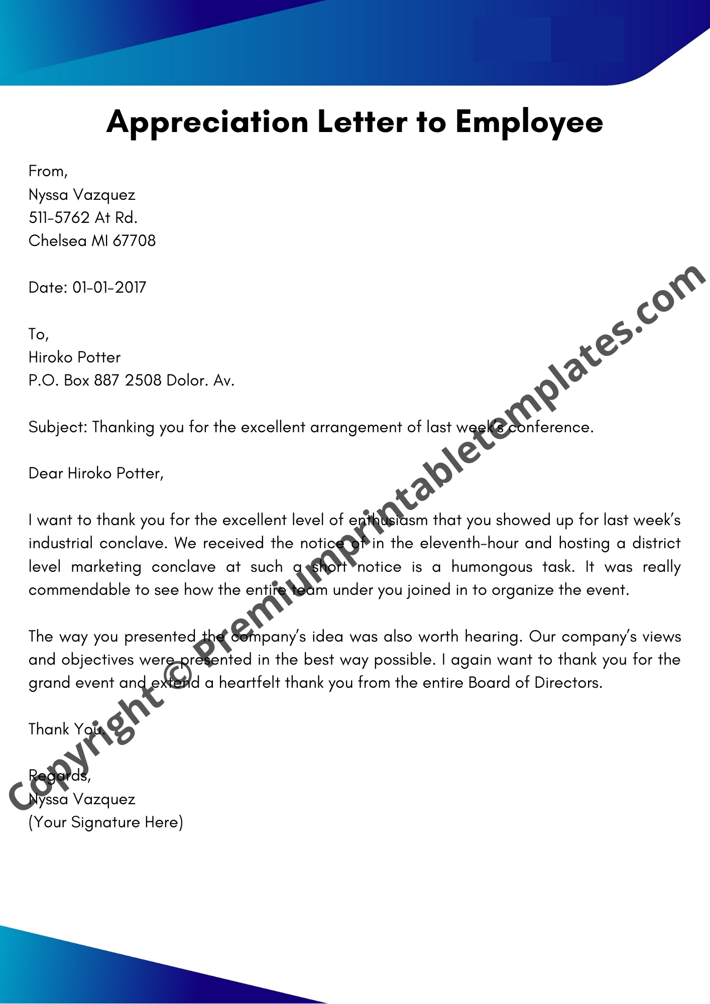 Appreciation Letter To Employee from premiumprintabletemplates.com