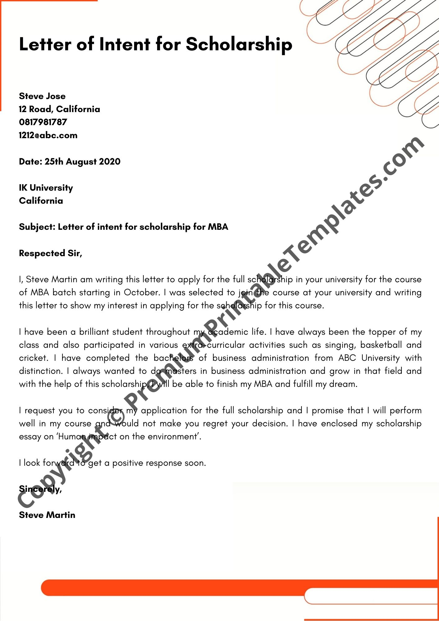 Letter Of Intent For Scholarship from premiumprintabletemplates.com