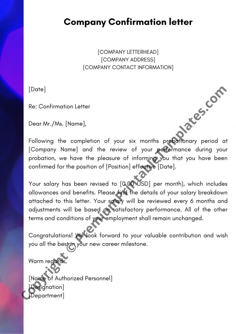 Confirmation Letter