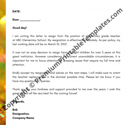Short Notice Resignation Letter from premiumprintabletemplates.com