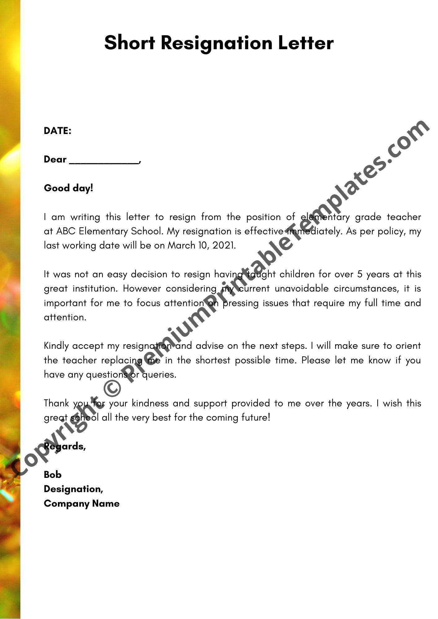 Resignation Letter Examples For Teachers from premiumprintabletemplates.com
