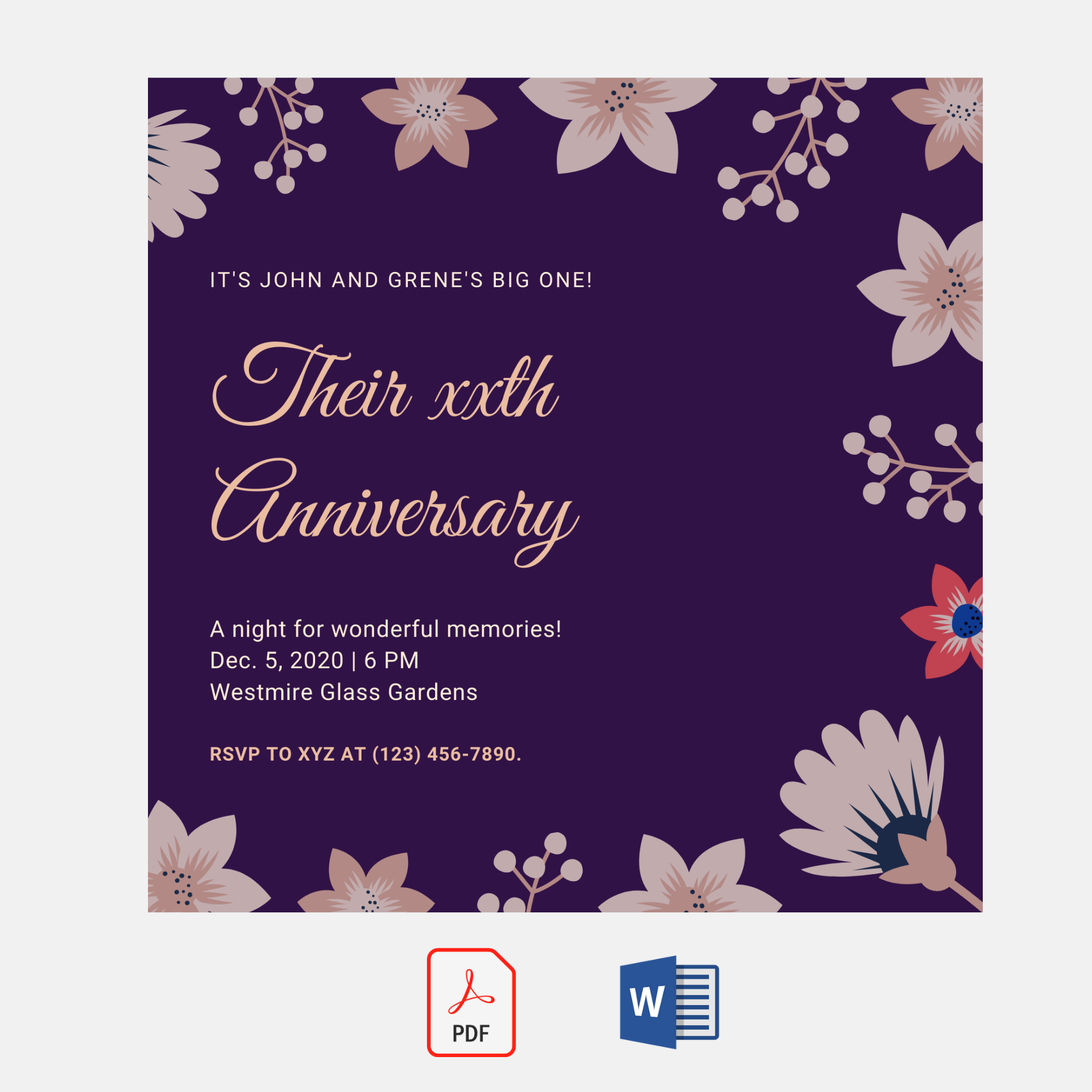 Anniversary Invitation Card | Invitation Card Templates | Premium Printable  Templates