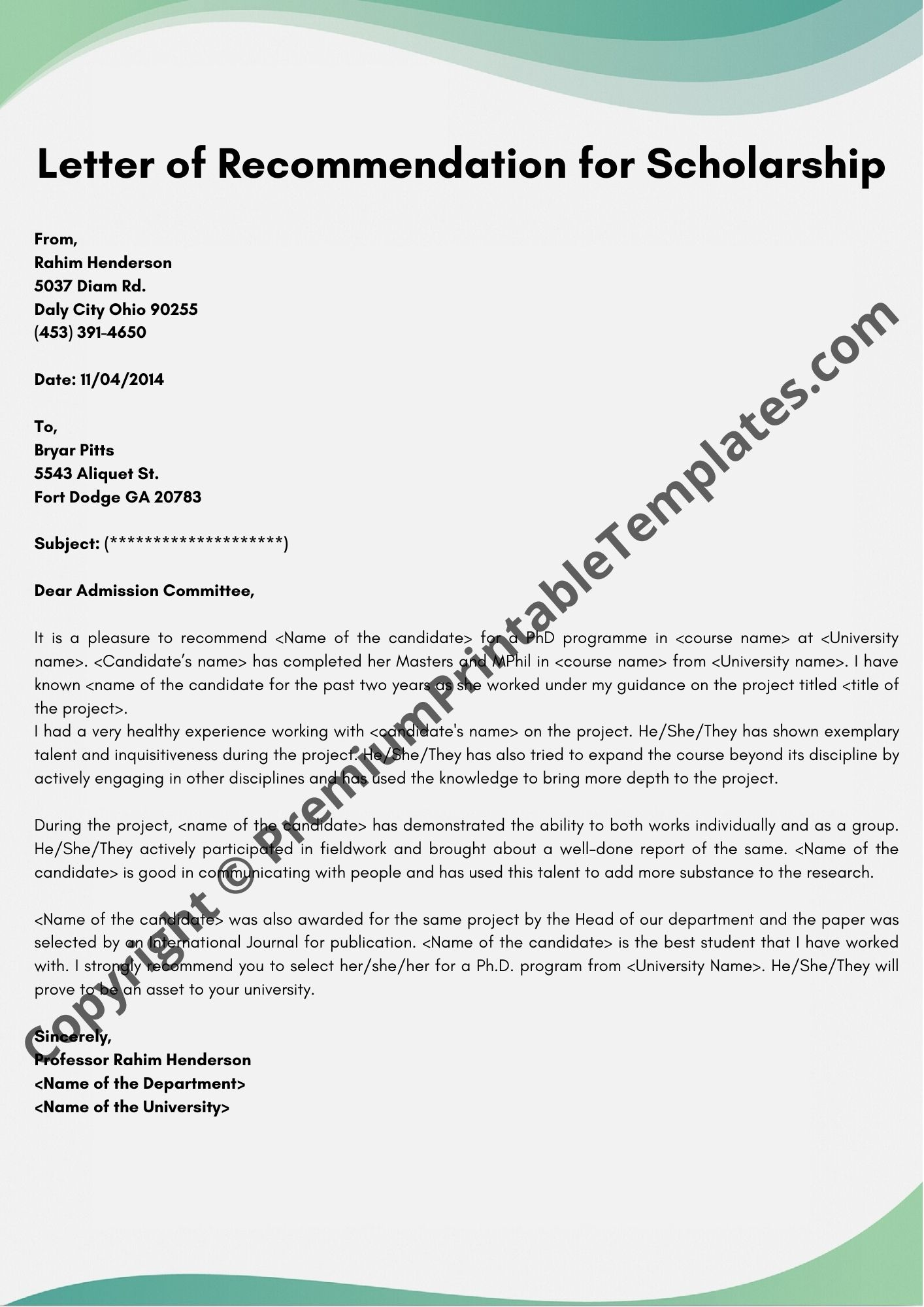 Example Scholarship Recommendation Letter from premiumprintabletemplates.com