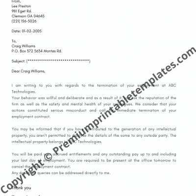 Sample Termination Letter for Misconduct