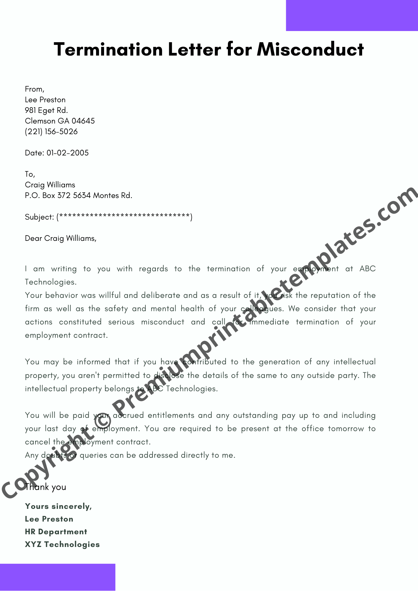 Sample Of Termination Letter To Employee from premiumprintabletemplates.com