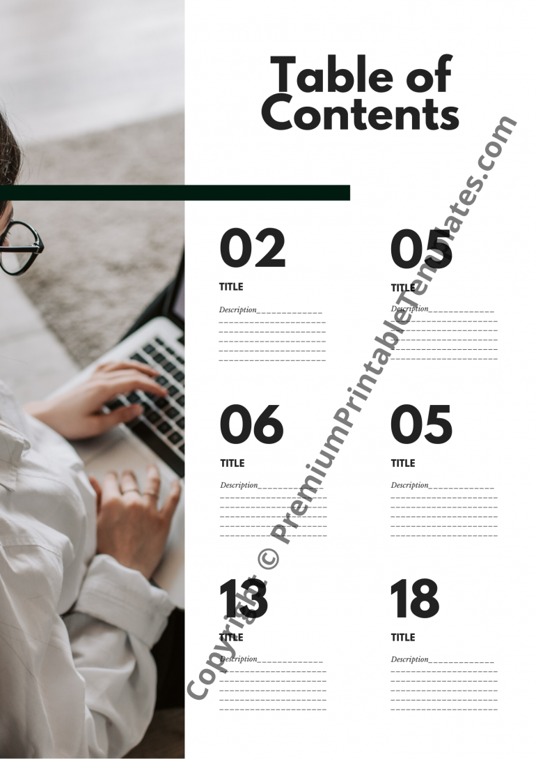 table of content template