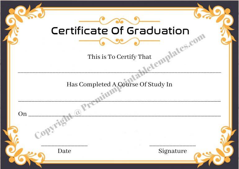 Certificate Of Graduation High School