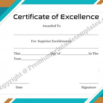 Printable Certificate of excellence