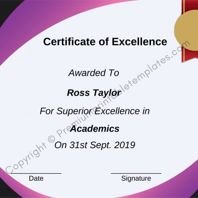 Certificate of Excellence Word