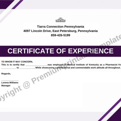 certificate of experience