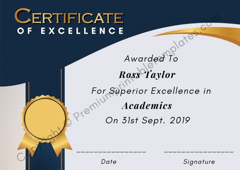 Printable Certificate of excellence pdf
