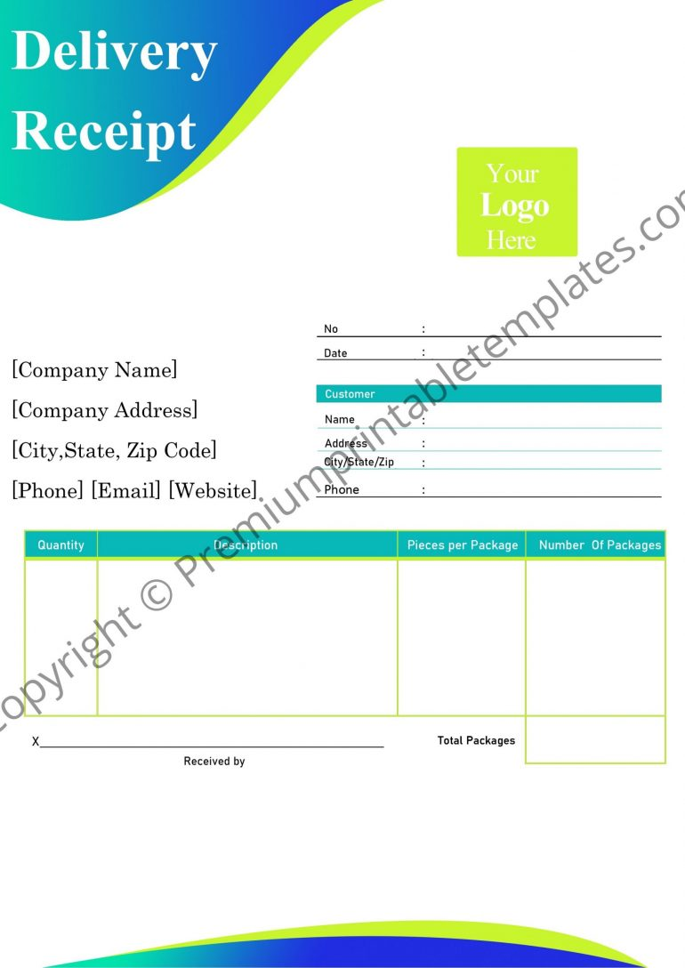 delivery receipt sample pdf