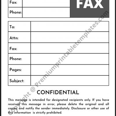 paramount confidential fax cover sheet