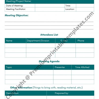 Meeting Facilities Agenda Template Download