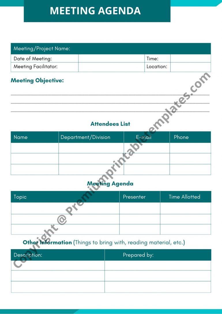 Meeting Facilities Agenda Template Download
