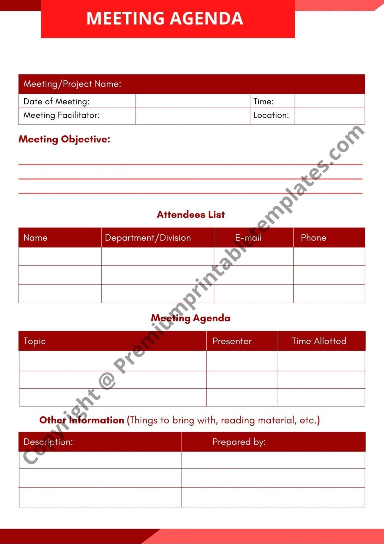 Meeting Facilities Agenda Template Download (Red)
