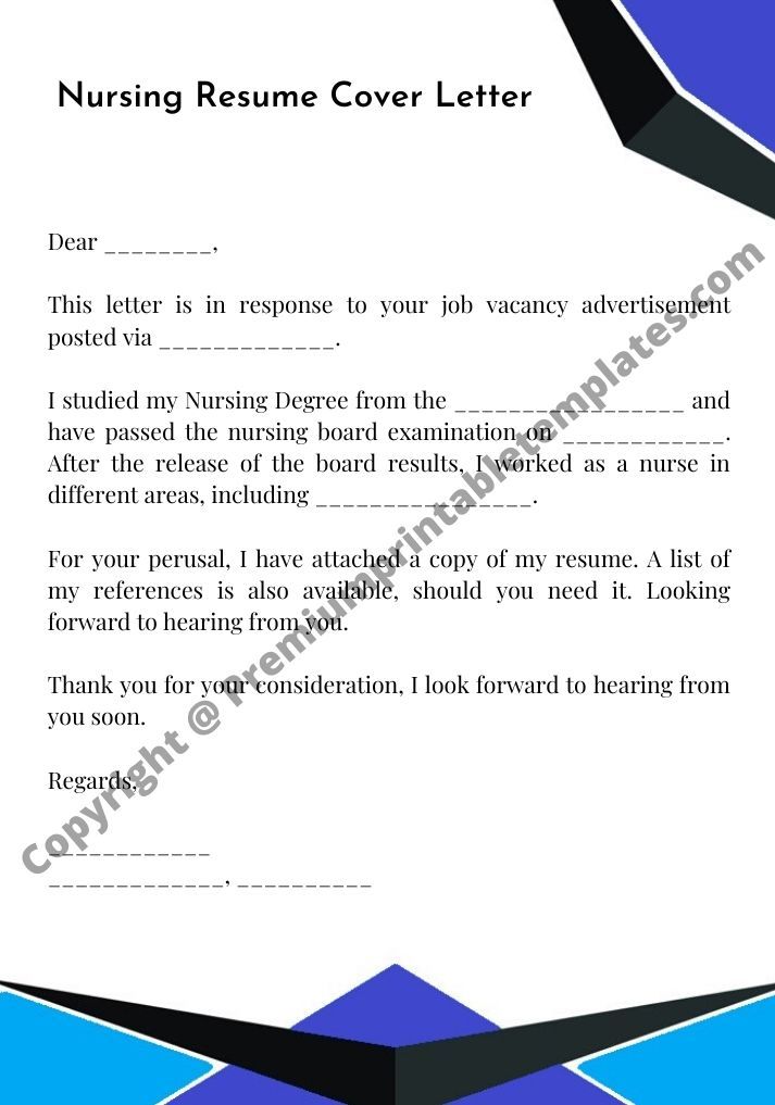 Nursing Resume Cover Letter Template Premium Printable Templates