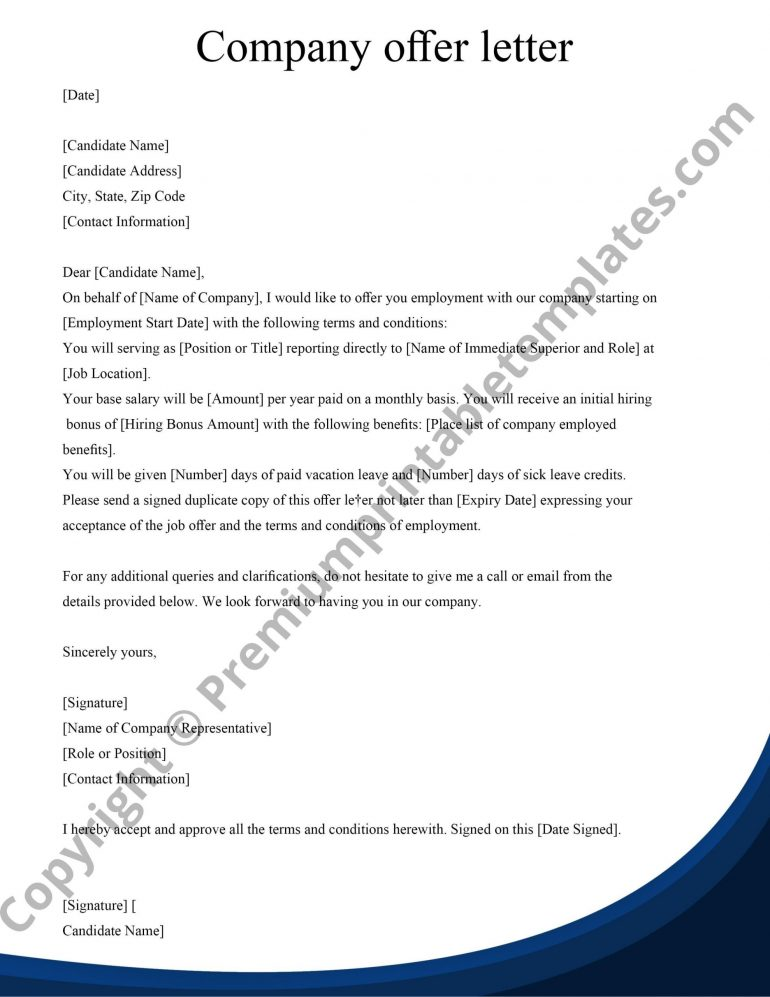 Offer letter for company