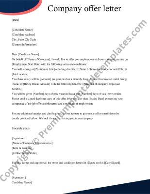 Printable Offer Letter