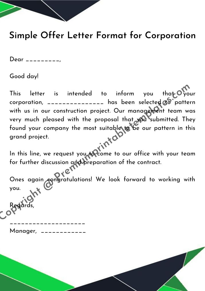 offer letter format for corporation