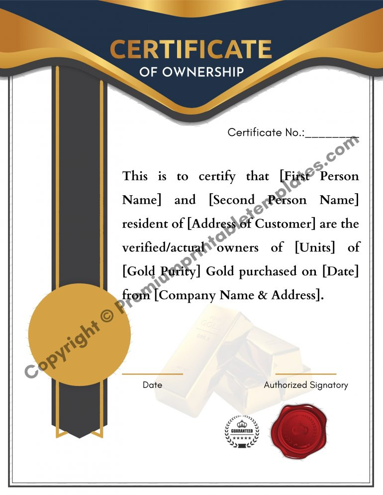 certificate of ownership for the gold