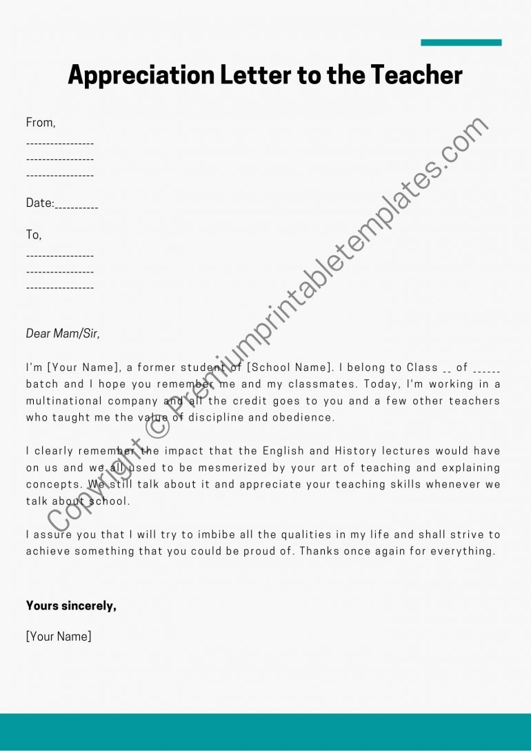 Appreciation Letter to the Teacher