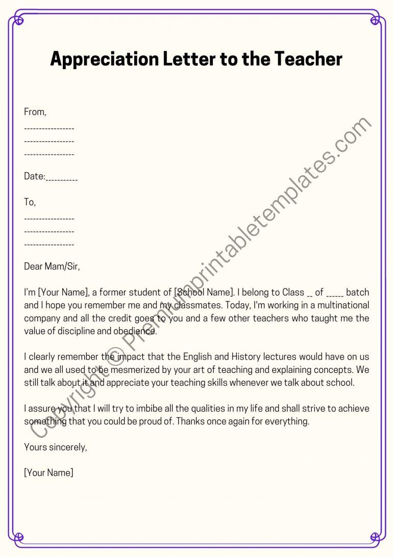 Appreciation Letter to the Teacher Template