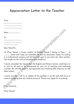Appreciation Letter to the Teacher word
