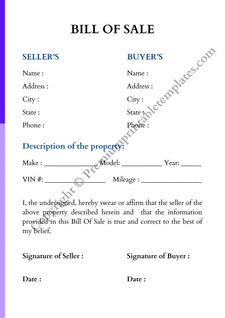 Blank Bill of Sale
