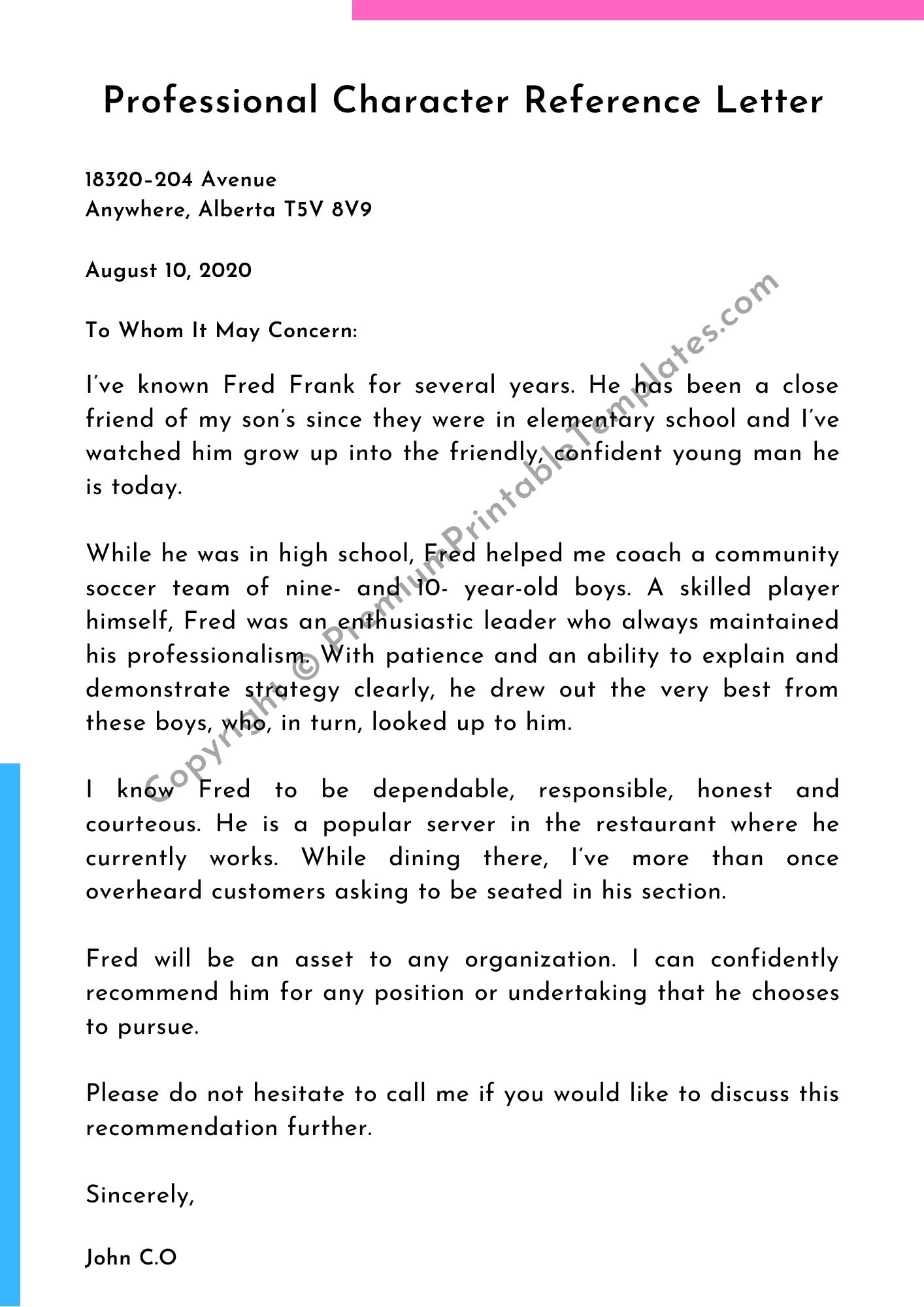 Character Reference Letter Example from premiumprintabletemplates.com