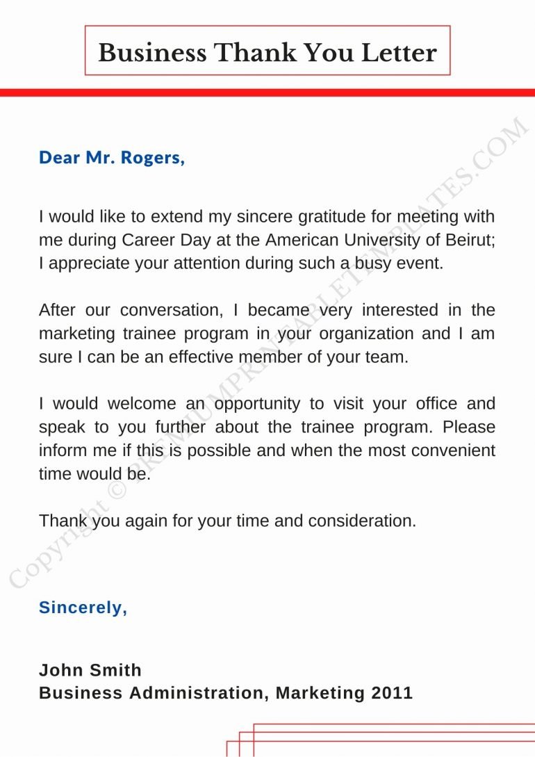 Download Business Thank You Letter