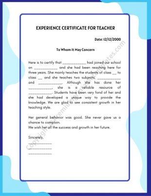 Experience Certificate for teacher template