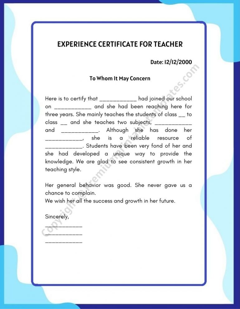 Experience Certificate for teacher template