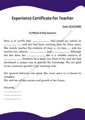Experience Certificate for teacher template pdf