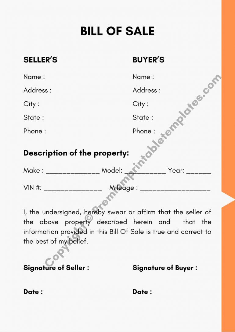 Printable Bill of Sale