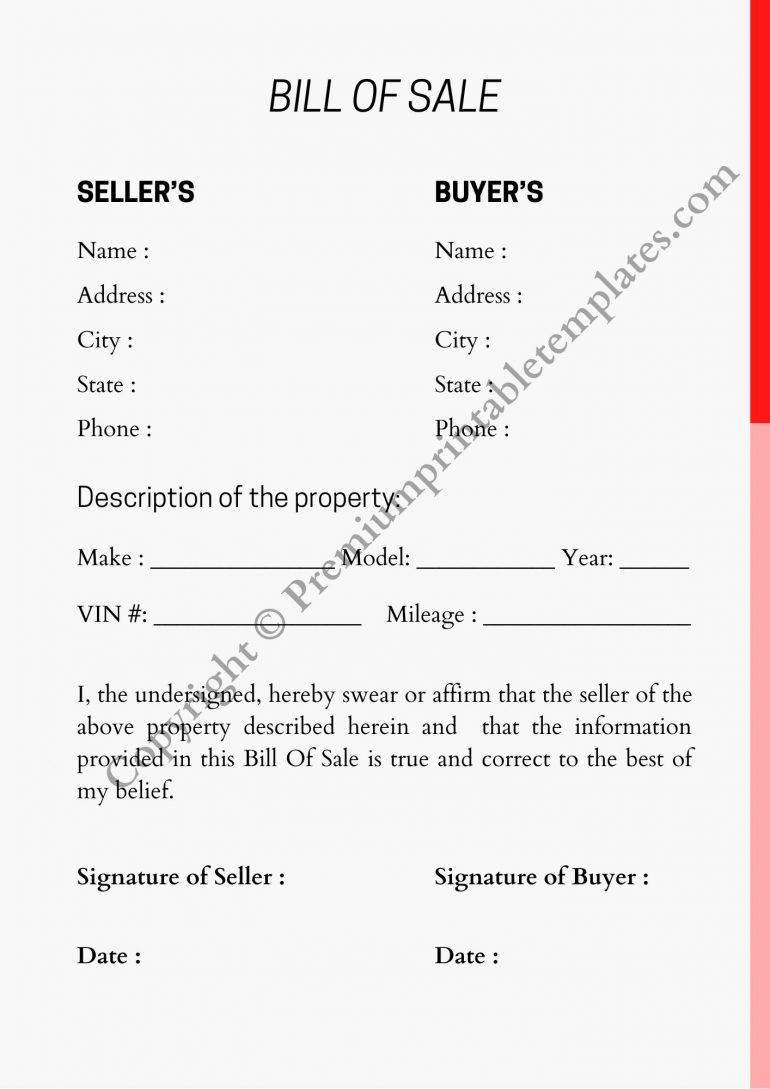 Printable Blank Bill of Sale