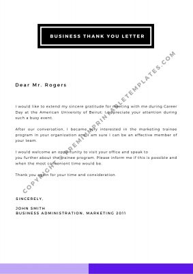 Printable Business Thank You Letter