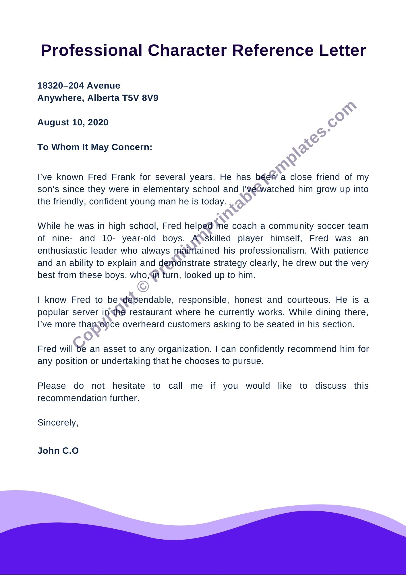 Character Reference Letter For Landlord from premiumprintabletemplates.com