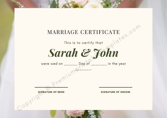 Certificate of Marriage Template