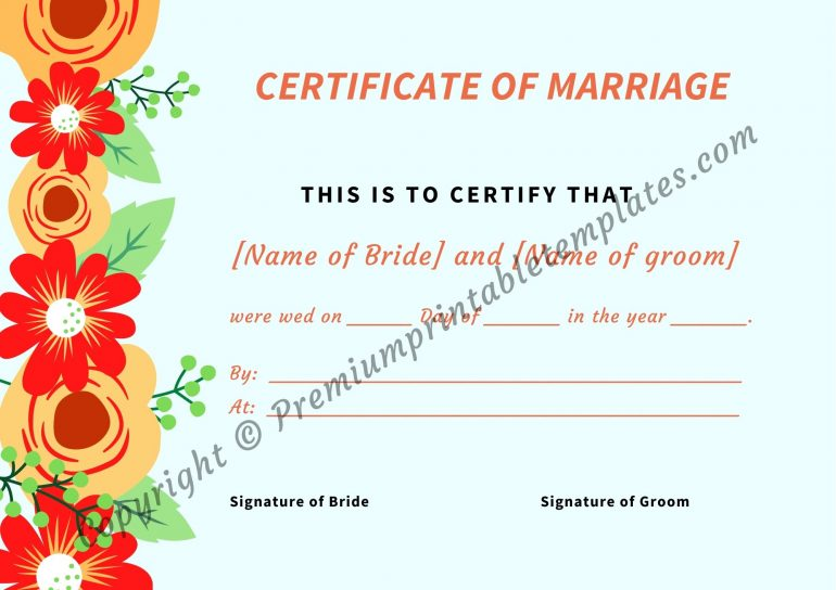 Printable Marriage Certificate