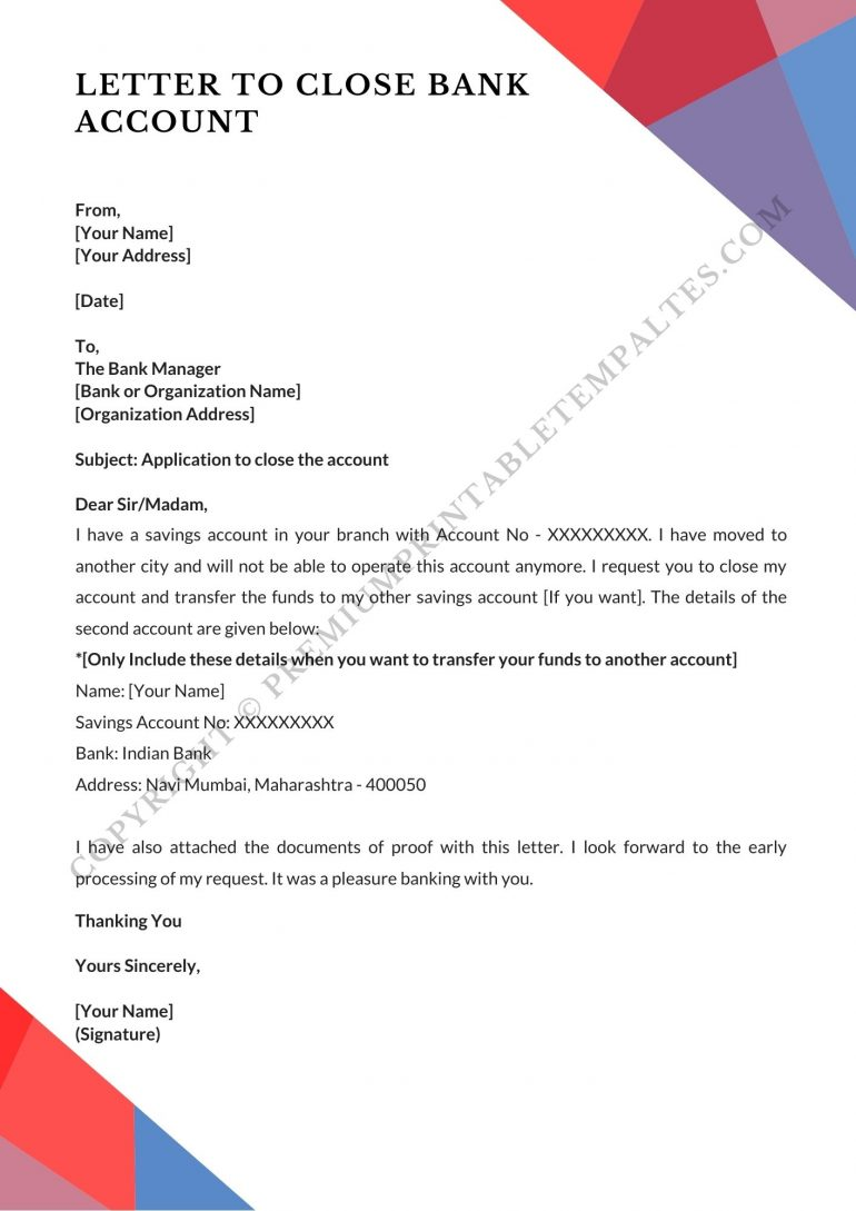 bank account closing letter sample format