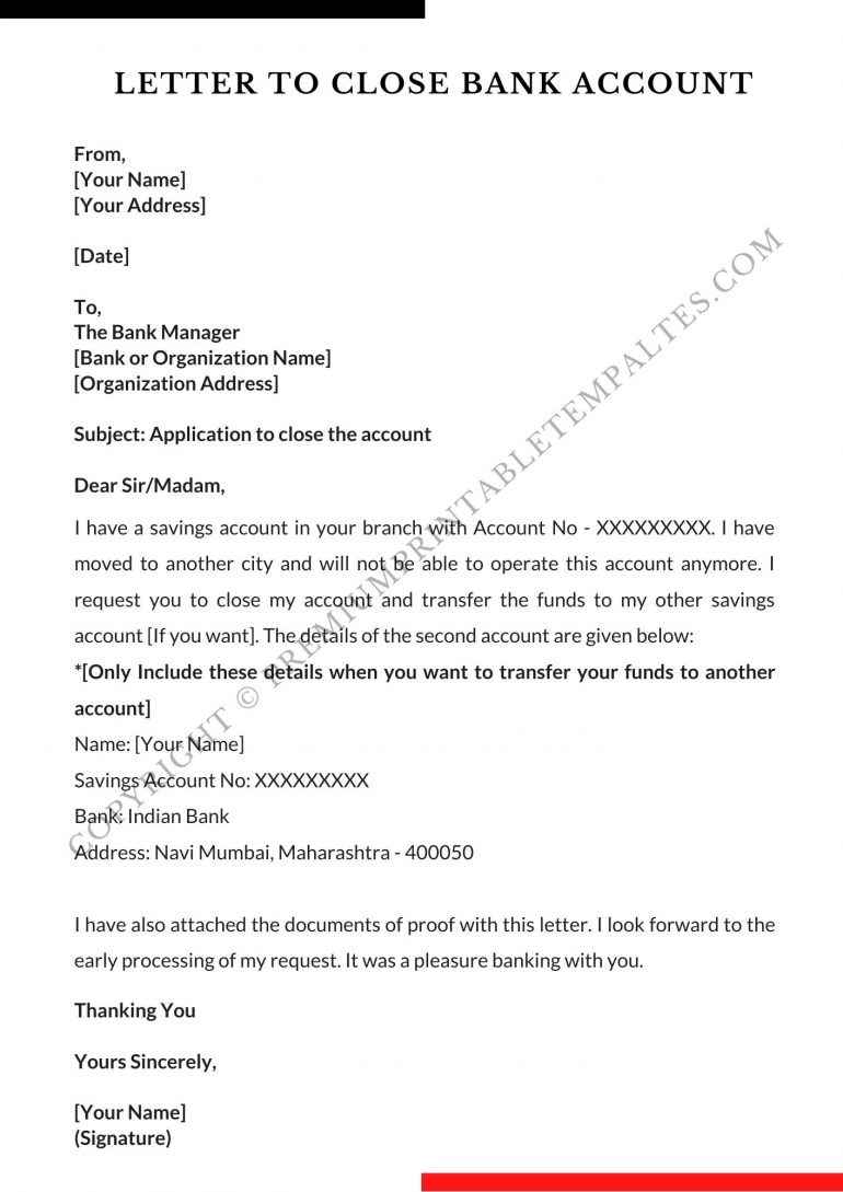 Bank Account Closing Letter