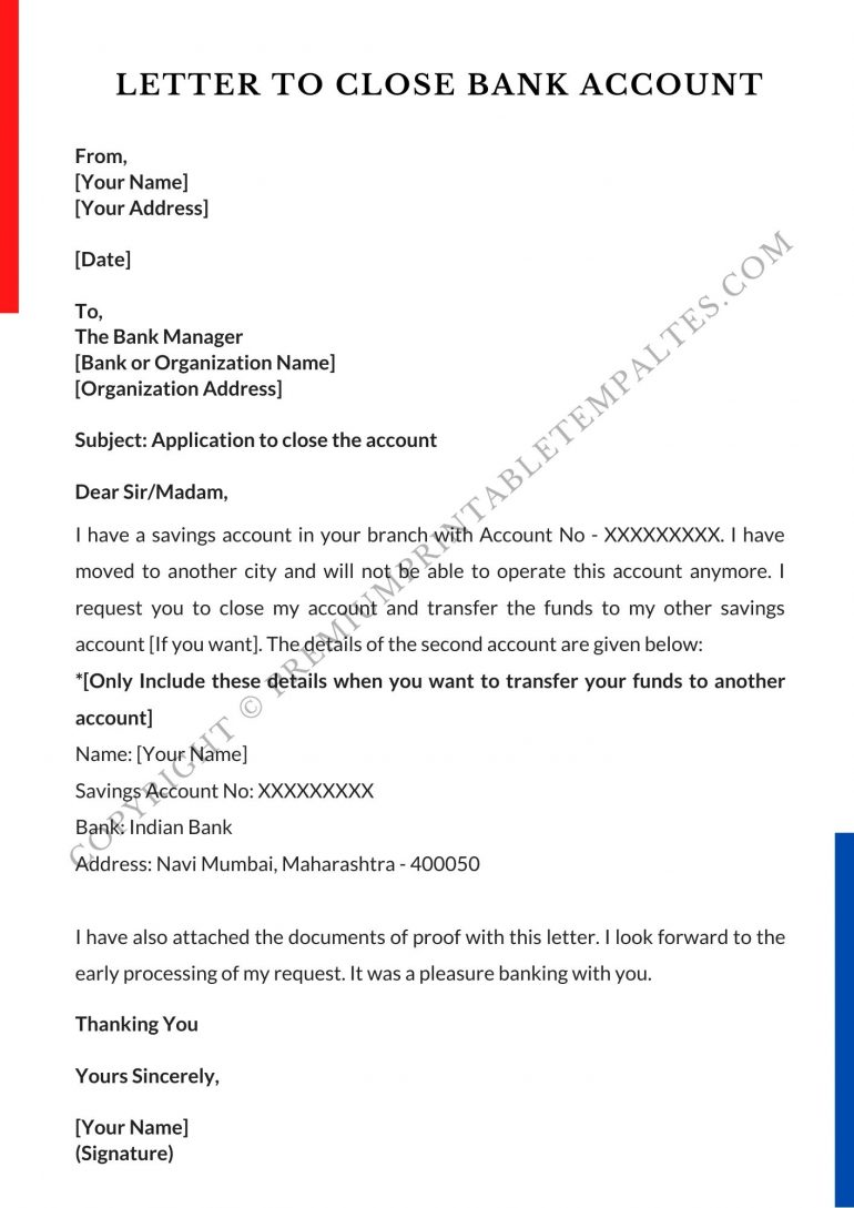 bank account cancellation letter