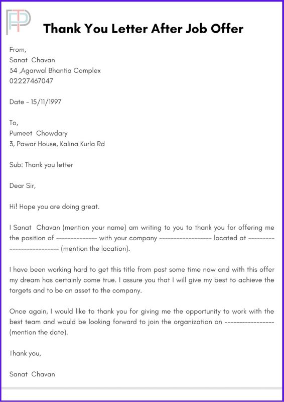 Thank You Letter After Job Offer