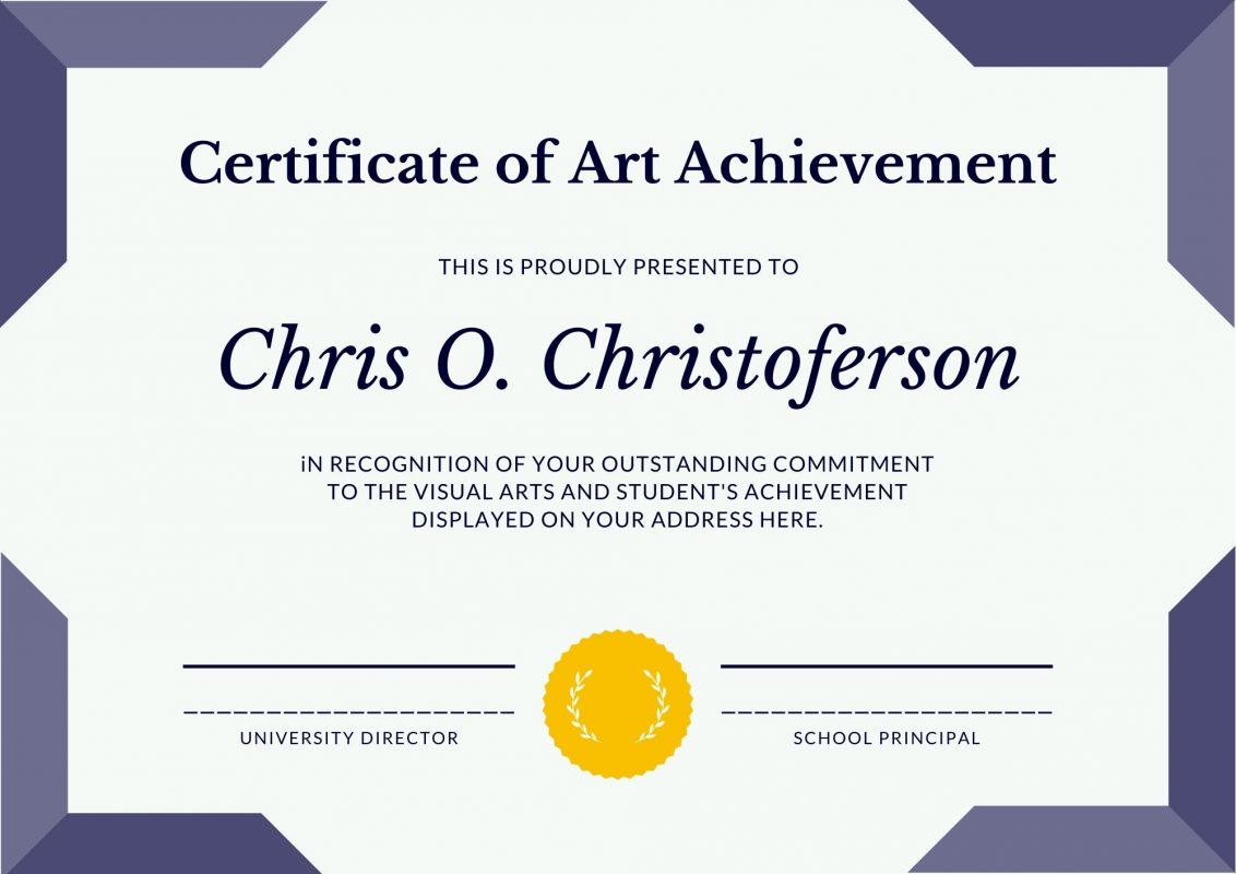 free Certificate of Art achievement