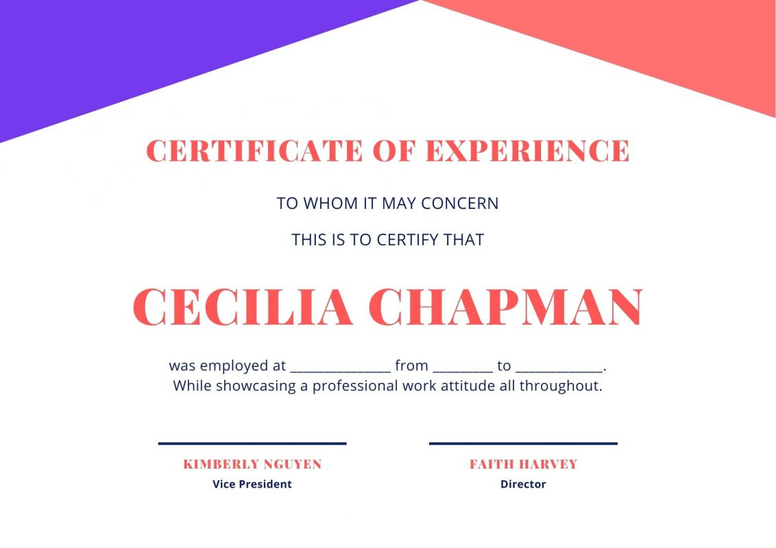 free Certificate of Experience