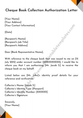 Authorization Letter for Cheque Book Collection