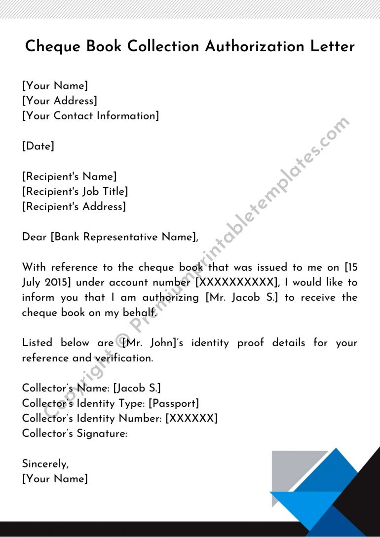 Cheque Book Collection Authorization Letter PDF